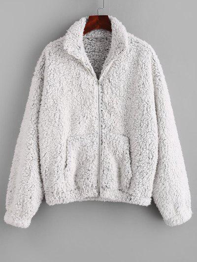 ZAFUL Pockets Fluffy Faux Fur Teddy Coat - Ash Gray S