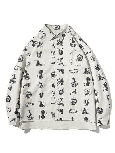 High Low Animal Figure Skull Allover Pattern Shirt Jacket - Light Gray L