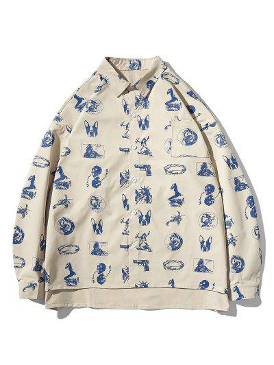 High Low Animal Figure Skull Allover Pattern Shirt Jacket - Light Khaki L