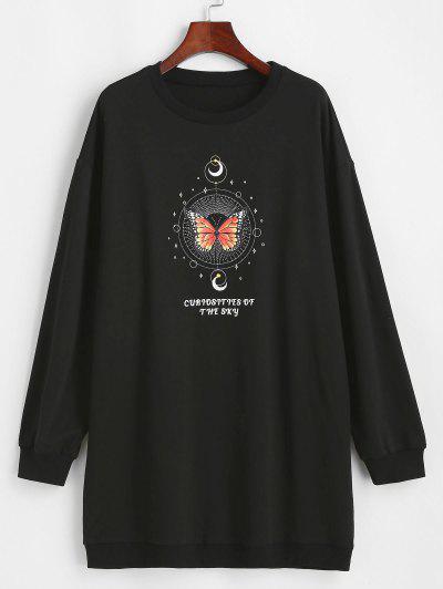 ZAFUL Moon And Butterfly Drop Shoulder Tunic Sweatshirt - Black L