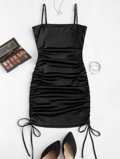 ZAFUL Spaghetti Strap Cinched Satin Bodycon Dress - Black S