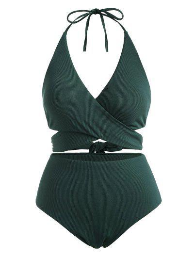 ZAFUL Bikini De Canalé Con Talla Extra - Verde Oscuro Xxxxl
