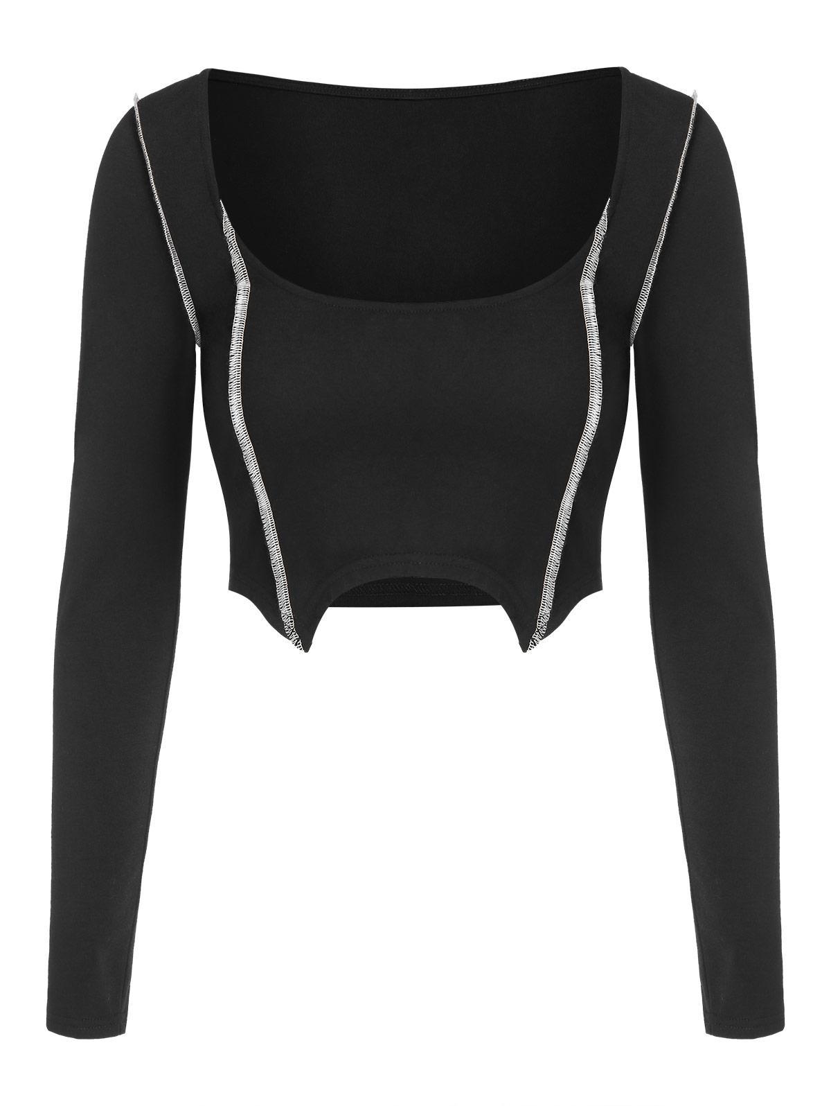ZAFUL T-shirt Court Cousu à Ourlet Asymétrique S Noir