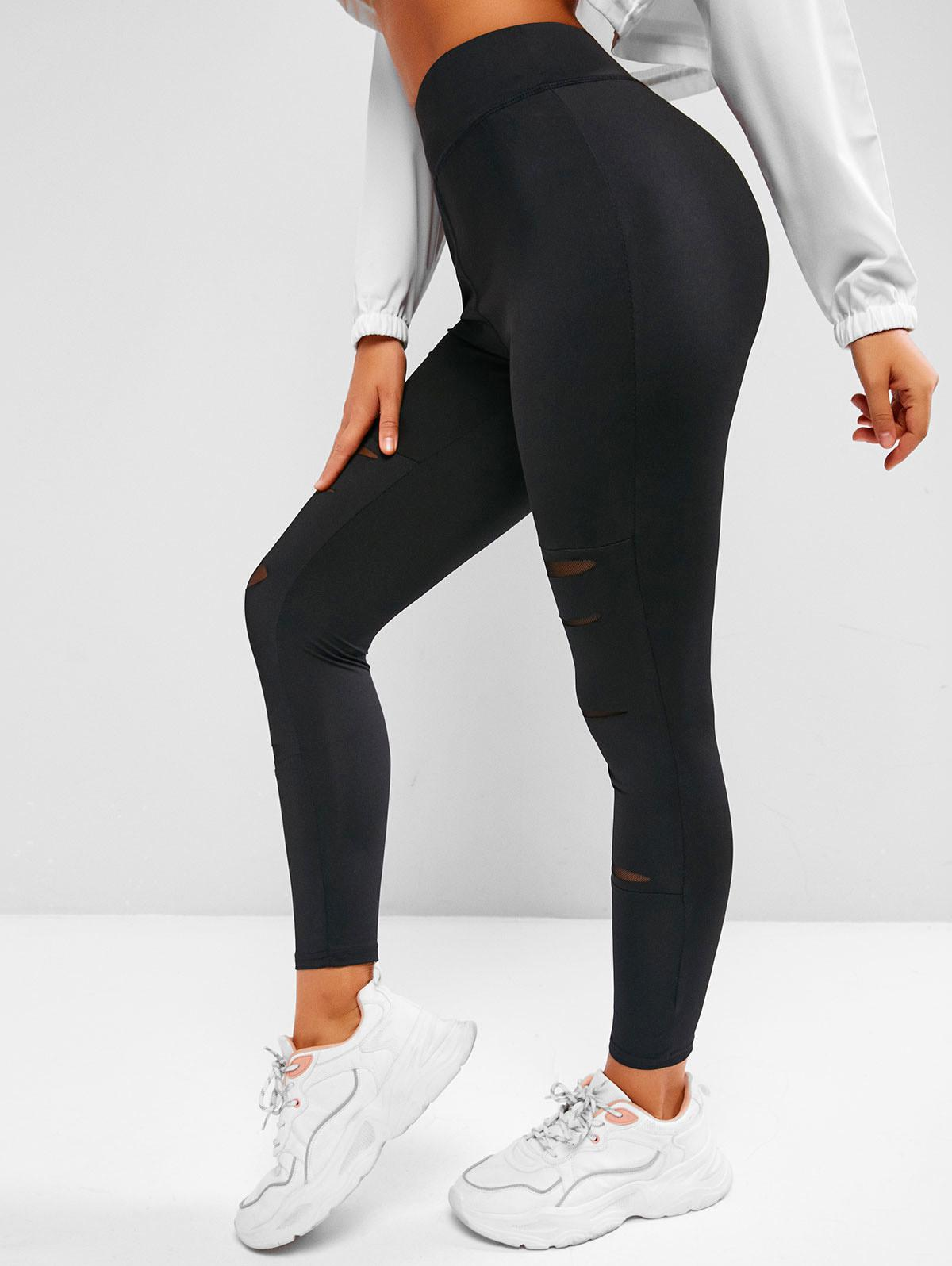 Ripped Mesh Panel High Waisted Leggings