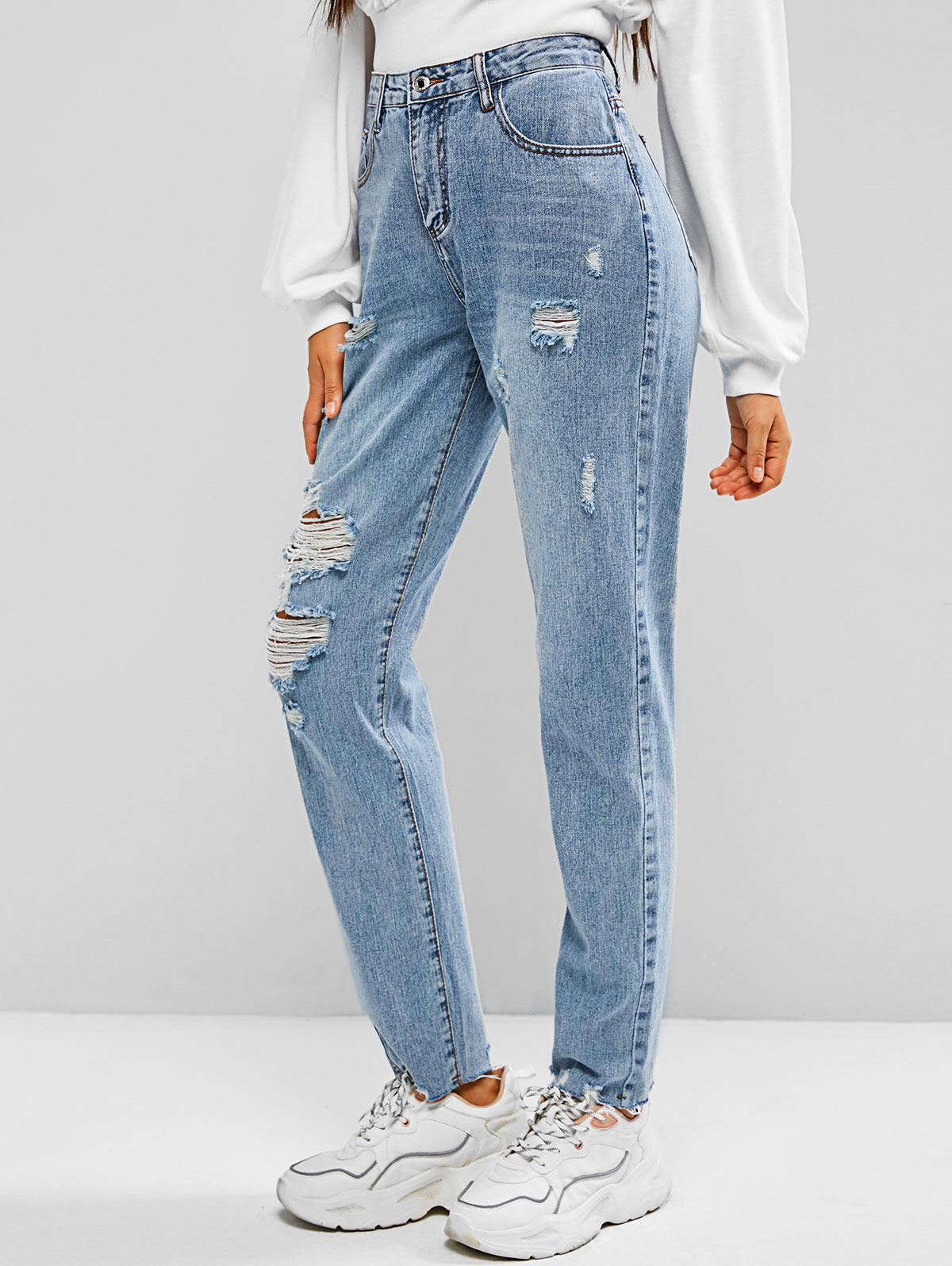 Ripped Zipper Fly Mom Jeans