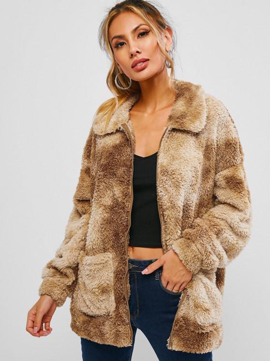 chic ZAFUL Tie Dye Pocket Faux Fur Drop Shoulder Coat - CAMEL BROWN L