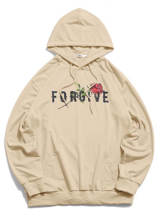 shop ZAFUL Forgive Rose Pattern Hoodie - LIGHT KHAKI L