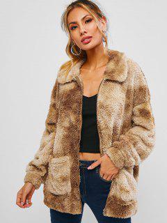 ZAFUL Tie Dye Pocket Faux Fur Drop Shoulder Coat - Camel Brown S