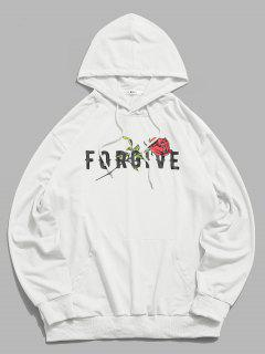 ZAFUL Forgive Rose Pattern Hoodie - White L