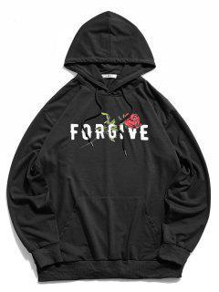 ZAFUL Sweat-Shirt à Capuche Motif Rose Brillant Géographique - Noir Xl