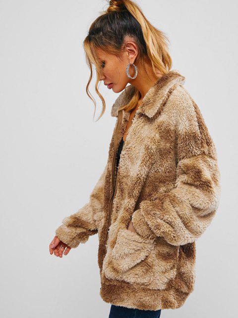 ZAFUL Tie Dye Pocket Faux Fur Drop Shoulder Coat - الجمل الجمل M Mobile