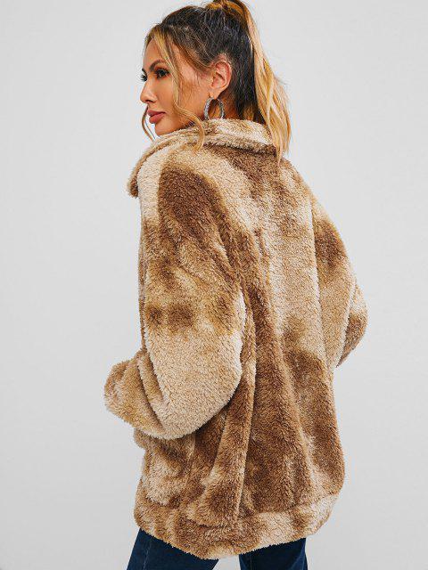 ZAFUL Abrigo de Hombro Caído de Piel Sintética con Bolsillo de Imitación - Camel Marrón M Mobile