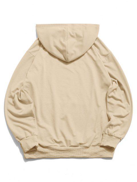 ZAFUL Hälfte Zugeknöpfter Stein Sweatshirt - Helles Khaki S Mobile