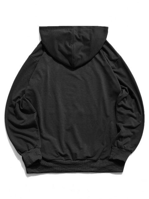 ZAFUL Sweat-Shirt à Capuche Motif Rose Brillant Géographique - Noir 2XL Mobile