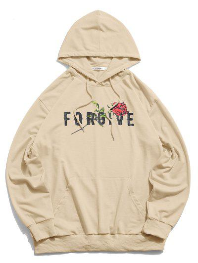 ZAFUL Forgive Rose Pattern Hoodie - Light Khaki L