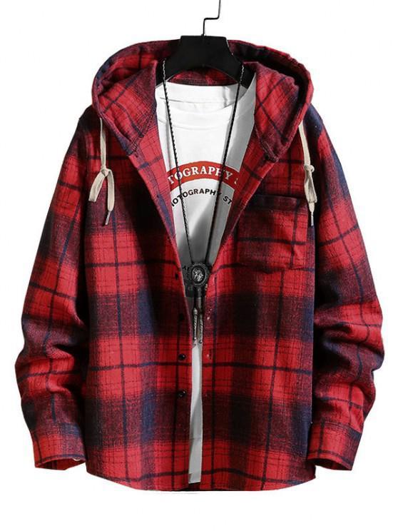 Hooded Plaid Print Pocket Shirt - أحمر M