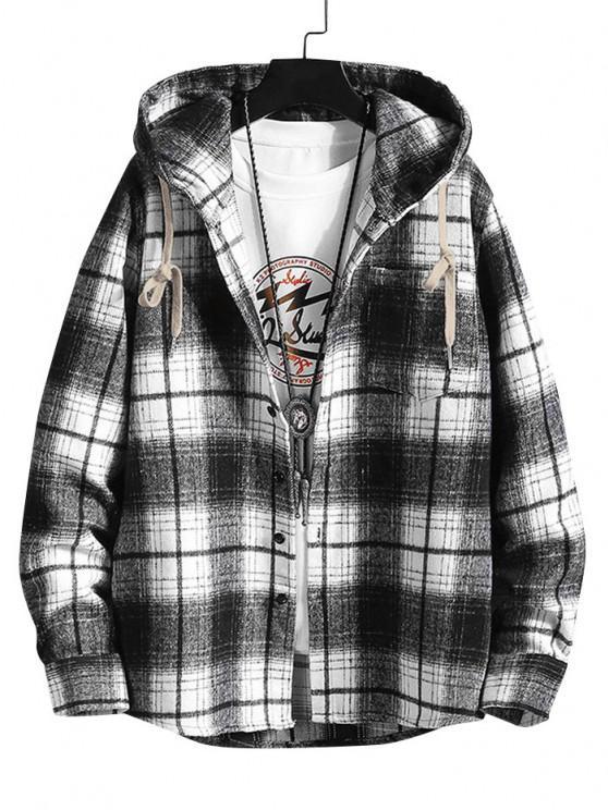 shop Hooded Plaid Print Pocket Shirt - BLACK XL
