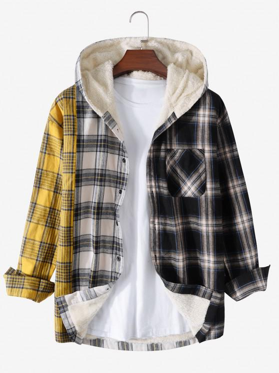 ladies Plaid Pattern Fleece Pocket Hooded Shirt Jacket - YELLOW L