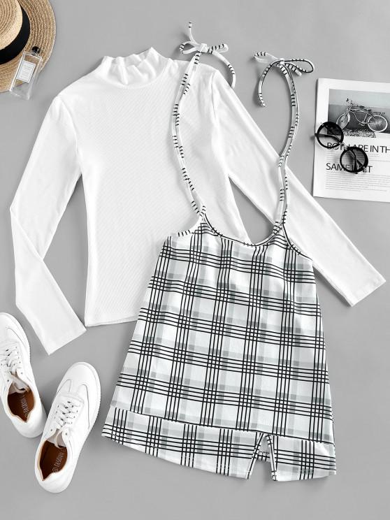 ZAFUL Plaid Tie Shoulder Slit Dress with Ribbed Top - أبيض M