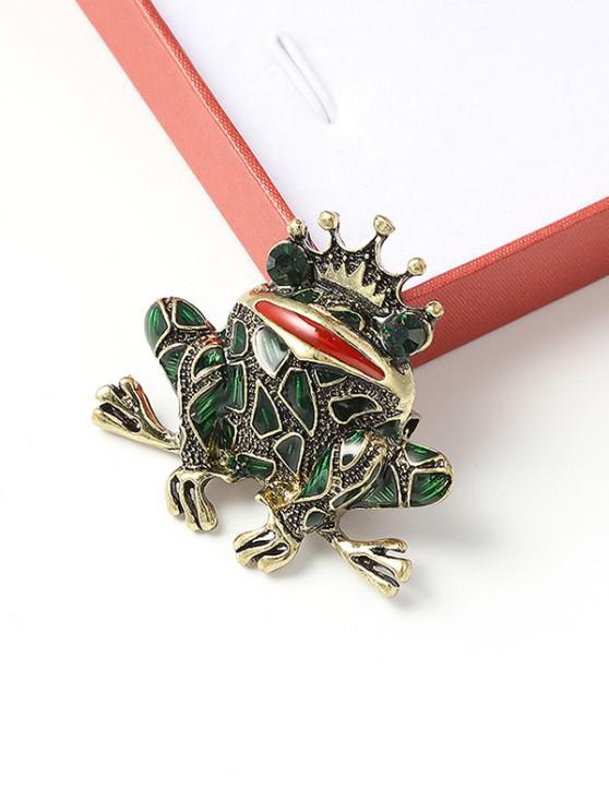 online Crown Frog Shape Rhinestone Brooch - MULTI