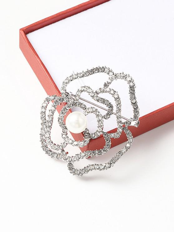 new Faux Pearl Rhinestone Hollow Flower Brooch - SILVER