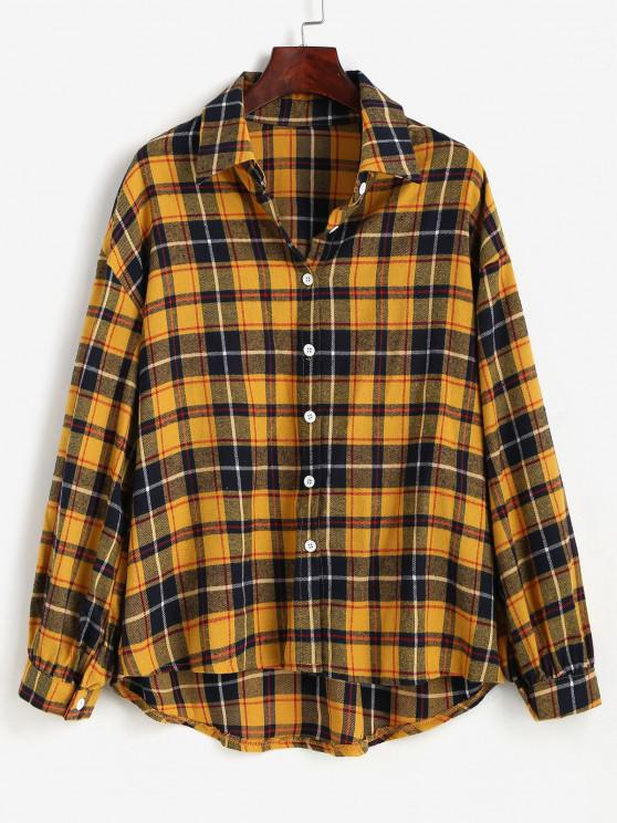 Plaid Drop Shoulder High Low Shirt - الأصفر M