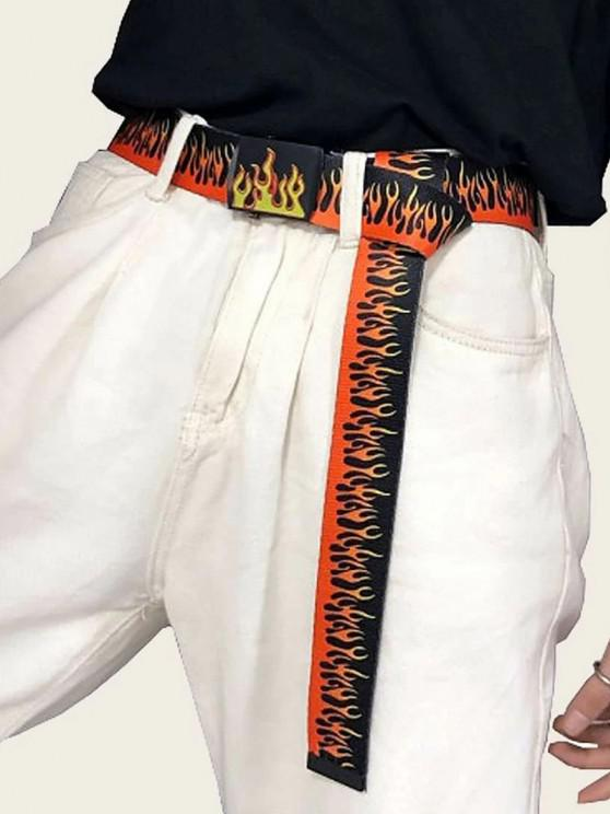 hot Flame Pattern Canvas Buckle Belt - BLACK
