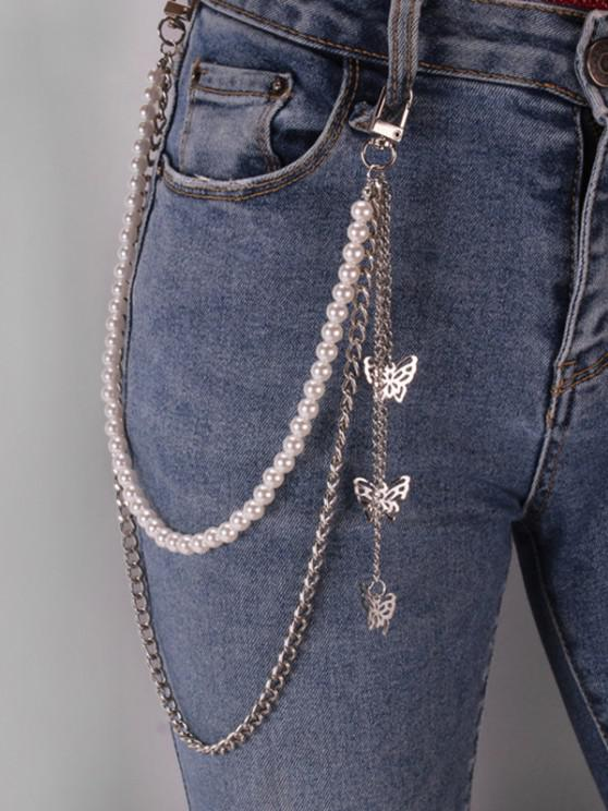 outfit Butterfly Faux Pearl Layers Trousers Chain - SILVER
