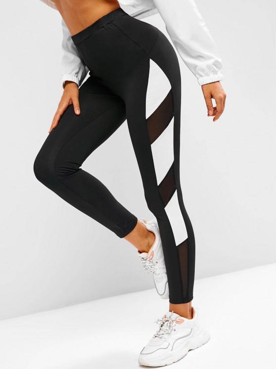 sale Two Tone Mesh Panel High Waisted Leggings - BLACK L