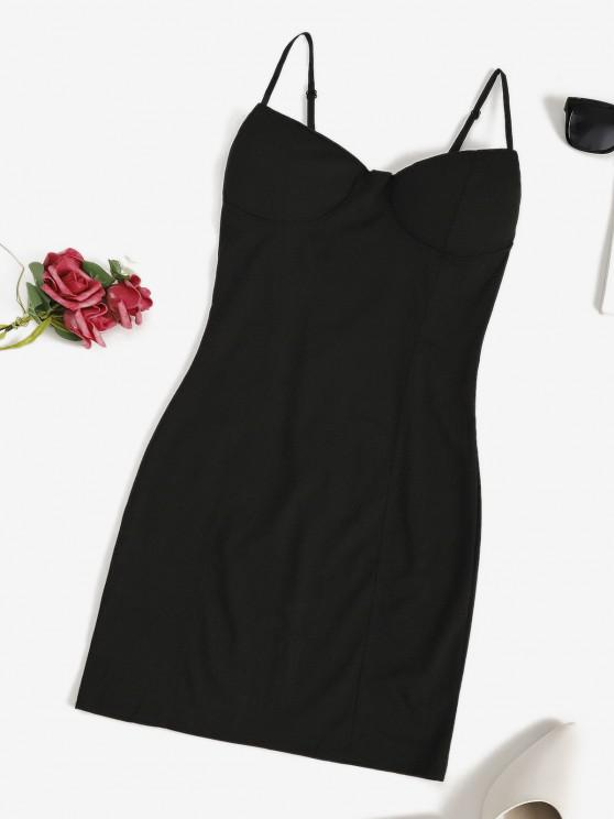ladies Padded Night Out Bodycon Cami Dress - BLACK L