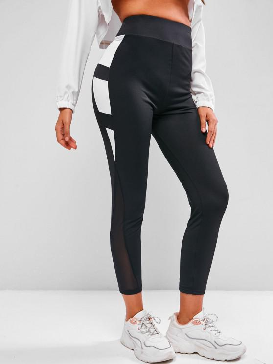 best Contrast Two Tone High Waisted Leggings - BLACK S