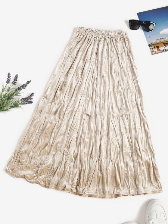 outfits Pull On Velvet Long Pleated Skirt - LIGHT COFFEE ONE SIZE