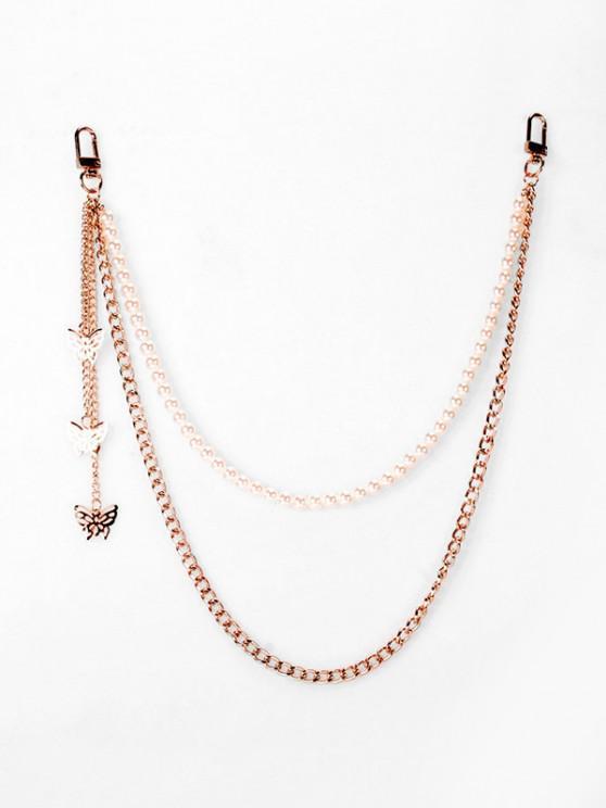 Cadena de Perlas de Imitación de Mariposa en Capas - dorado