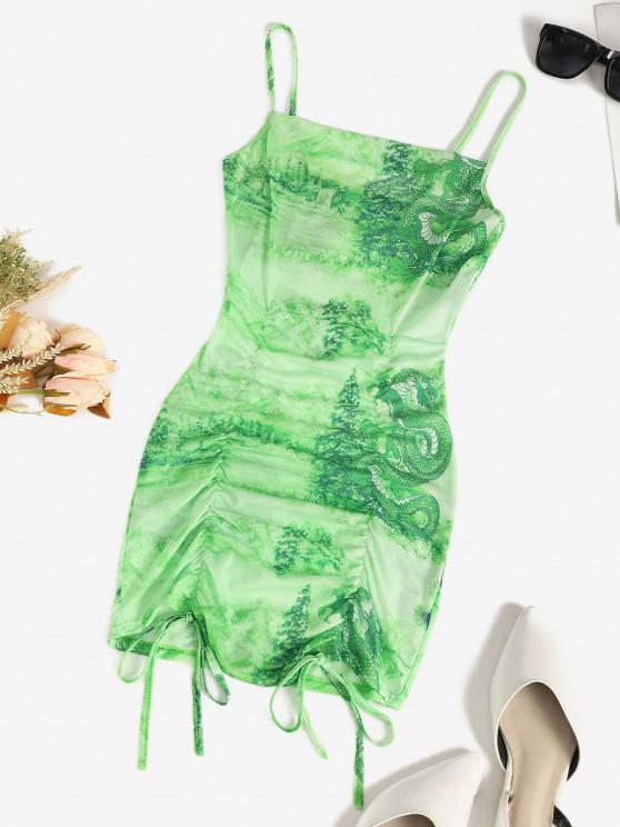 hot Mesh Dragon Print Sheer Ruched Cami Dress - GREEN L