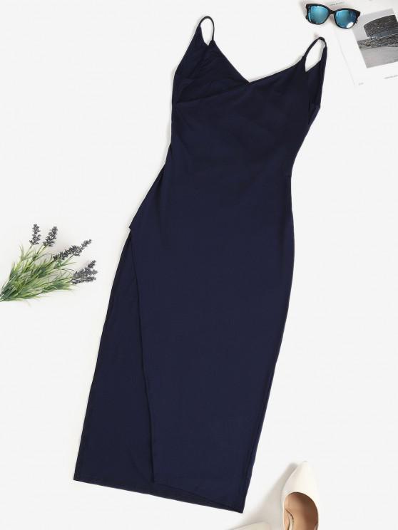 Surplice-front Cowl Back Slinky Maxi Cami Dress - ازرق غامق L