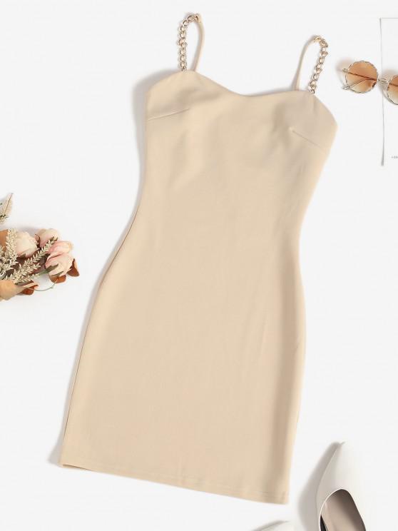 ladies Chains Straps Slinky Dress - LIGHT COFFEE M