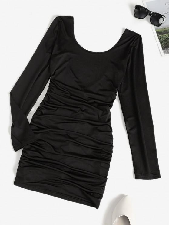 new Low Back Ruched Long Sleeve Slinky Dress - BLACK S