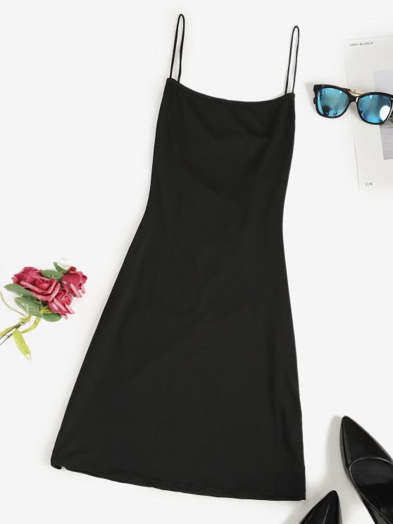 unique Lace Up Backless Mini Dress - BLACK S
