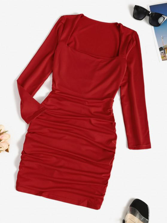 ladies Fleece Lined Ruched Long Sleeve Bodycon Dress - RED L