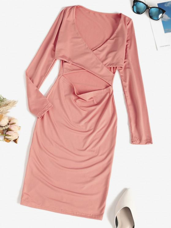 Surplice Cross Cutout Fleece Lined Bodycon Dress - وردي فاتح S