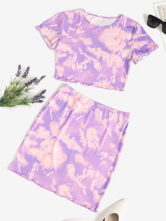 chic Tie Dye Lettuce-trim Slinky Two Piece Dress - PURPLE M