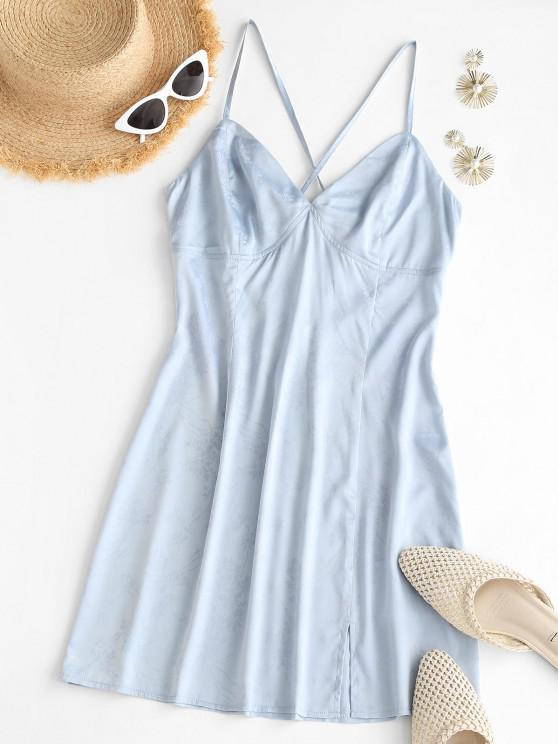 unique ZAFUL Satin Floral Jacquard Backless Cami Dress - LIGHT BLUE L