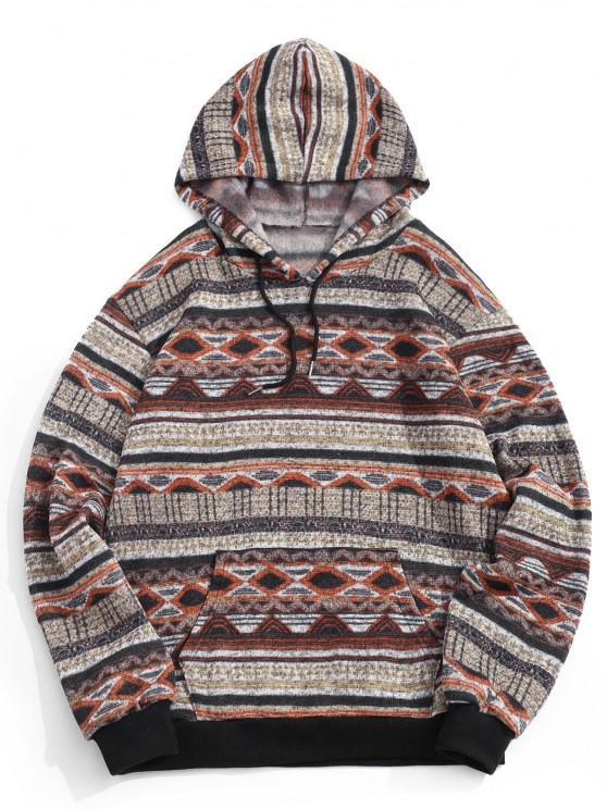 Tribal Geometric Pattern Knit Fleece Hoodie - اصفر غامق S
