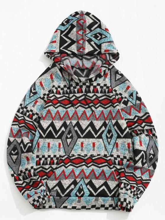 sale Tribal Geometric Pattern Knitted Fleece Hoodie - GRAY S