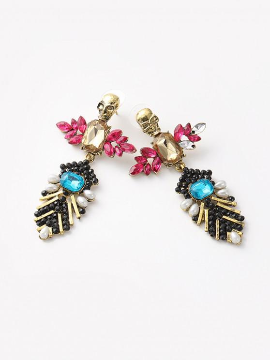 affordable Retro Faux Crystal Skull Drop Earrings - MULTI