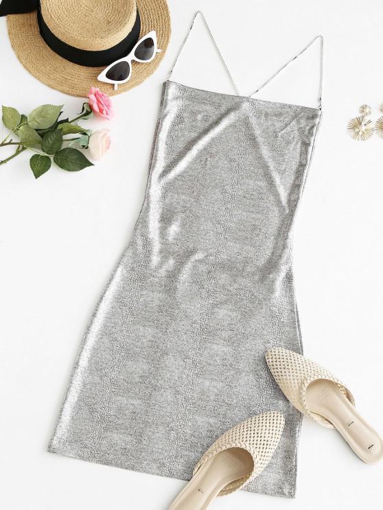 fancy Sparkly Disco Metallic Rhinestone Strap Backless Slinky Dress - LIGHT GRAY M