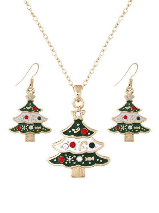 lady Christmas Tree Rhinestone Jewelry Suit - MULTI