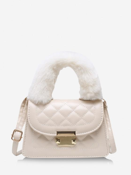 hot Fluffy Handle Quilted Crossbody Handbag - WARM WHITE