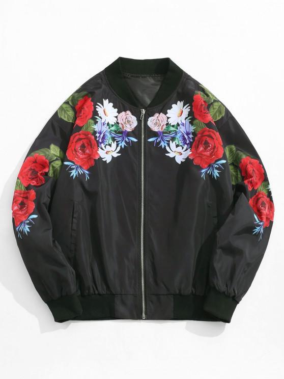 women Flower Pattern Zip Up Jacket - BLACK S