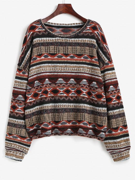 best Tribal Ethnic Knit Fleece Lined Sweater - MULTI L
